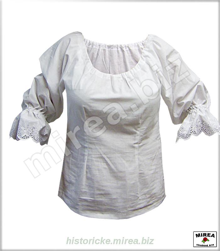 c3de4056a Dámska baroková košeľa bavlnená trištvrťový rukáv - (DBK-01ba-tr ...