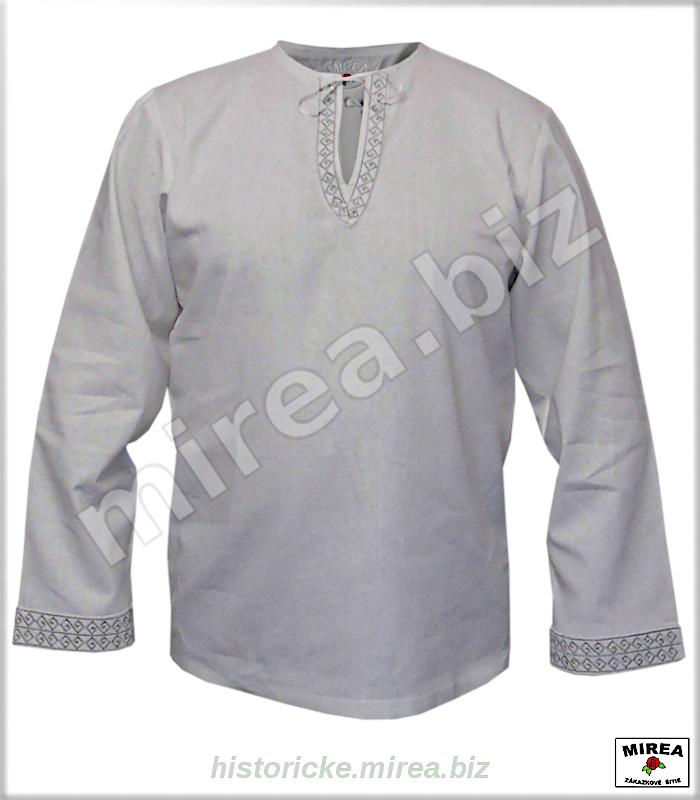 50b45fb6d Slovanská košeľa ľanová s vyšívanou krajkou - (SK-04la-vk) - MIREA ...
